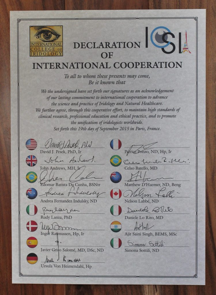 4. Dr. Pesek and the International College of Iridology continue to lead the way in advancing iridology and promoting international cooperation. Above is an image of the original historic document.